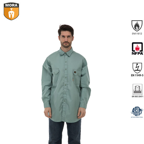 Nfpa 2112 Fr Clothing Safety Workwear Outdoor Work Clothes Flame Resistant Work Shirts with Buttons