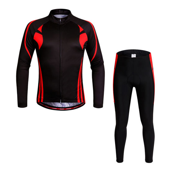 Nisex Breathable Quick-Dry Cycling Full-Zip Long Sleeve Jersey Pants Bicycle Clothing Sets Suits Bike Racing Mountain Cycling Suit