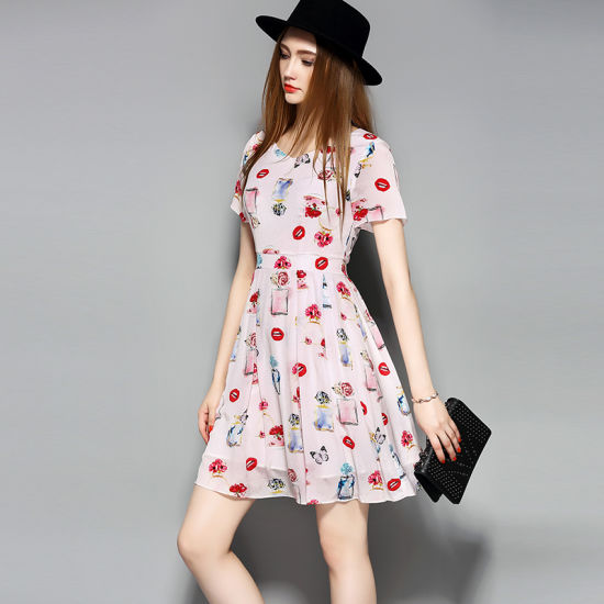 Short Sleeve Floral Printed Sweet Silk Women Party Dress pictures & photos
