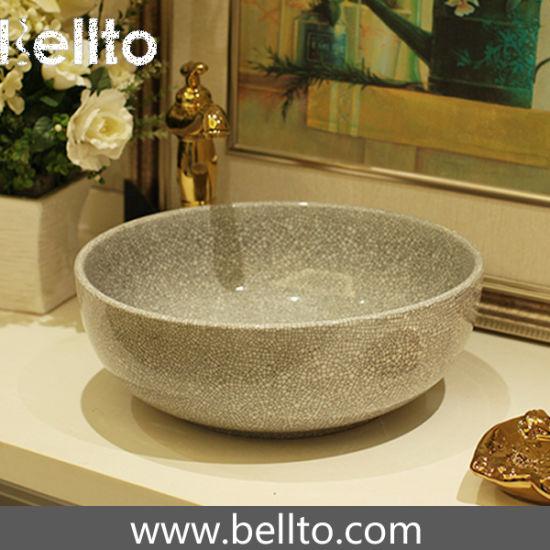 China Five Colors Handmade Ceramic Bathroom Sink With Cracked - Bathroom glazing
