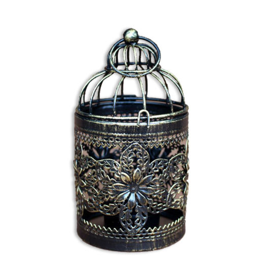 Decorative Birdcage Iron Candle Holder Bird Cage Metal Hollow out Candlestick Hanging Lantern
