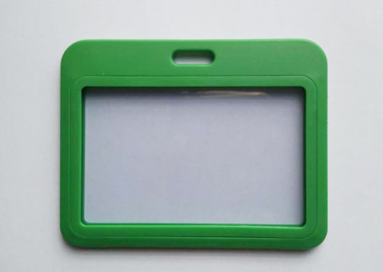 Horizontal Premium PP Plastic ID Card Badge Holder-Double Sides Clear Grass Green
