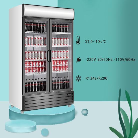 Supermarket Beverage Showcase Double Glass Door Upright Cooler for Wholesale