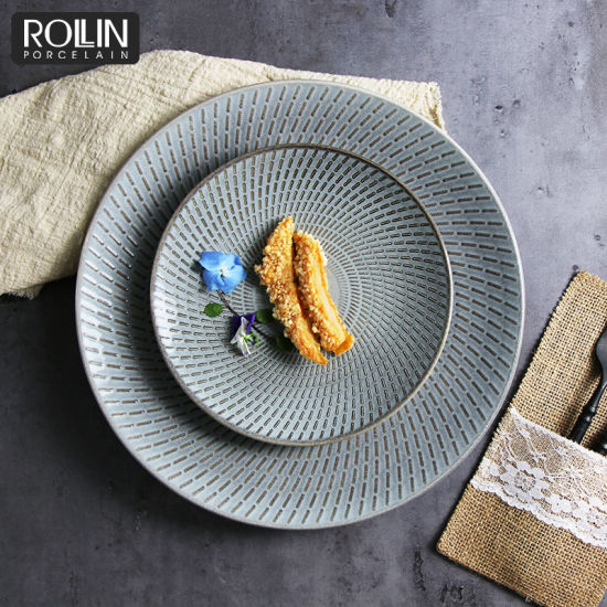 Kiln Gray Porcelain Side Plates Dinner Plates for Hotel and Restaurants pictures & photos