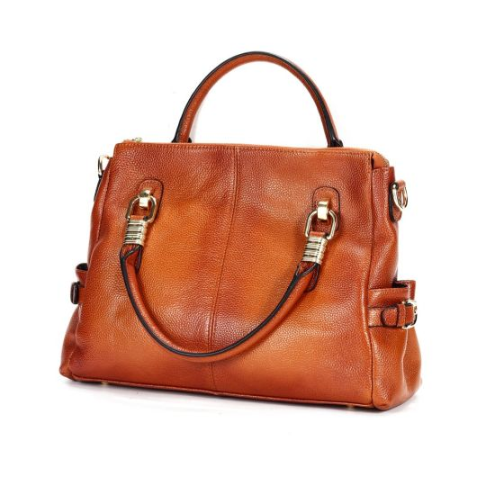 Retro Style New Design Brown Full Grain Cow Leather Lady Handbags