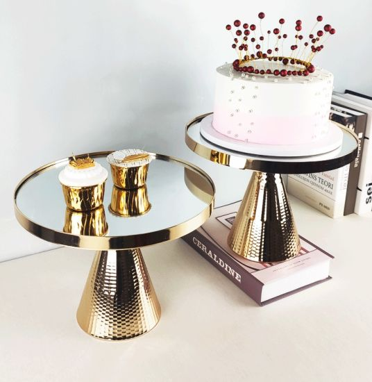 Hot Sale Christmas Party Decoration Tool Gold Metal Mirror Set Cake Stand