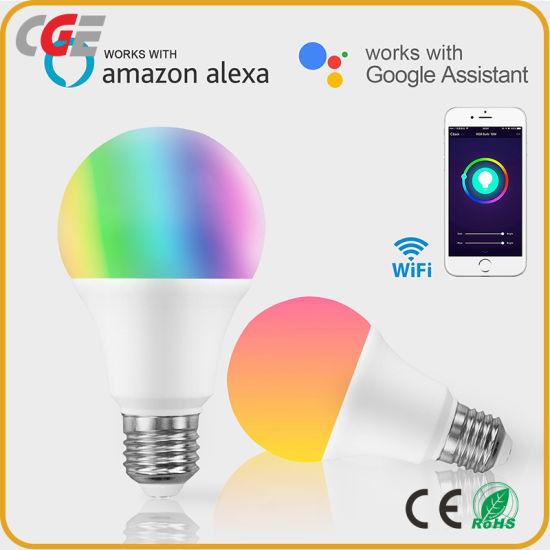 Alexa Google Intelligent LED Light Bulb WiFi 9W RGB+Cw+Ww for Smart Home Tuya APP Phone Control
