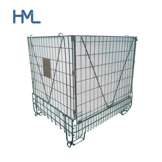 Industrial Galvanized Collapsible Foldable Stackable Metal Steel Wire Mesh Storage Containers for Pet Preform Storage
