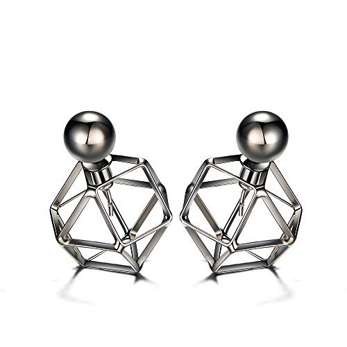 Gun Metal Plated Hollow Ball Double Sided Stud Earrings Young Ladies Ear Jackets