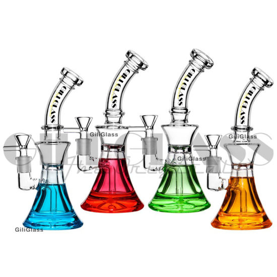 8 Inches Glycerine Glass Smoking Hot Water Pipe Mini Freezable Coil Glass Beaker Pipes Smoking Water Pipes