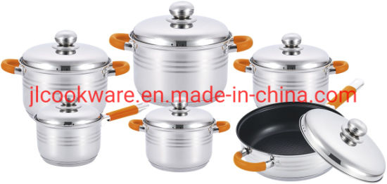 Wholesale 12 PCS Stainless Steel Cookware Set with Promotional Price