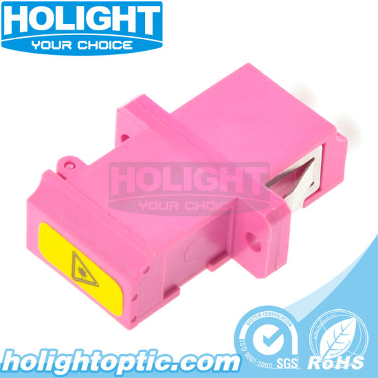 Fiber Optic LC to LC Om4 Duplex Shutter Adapter with Flange
