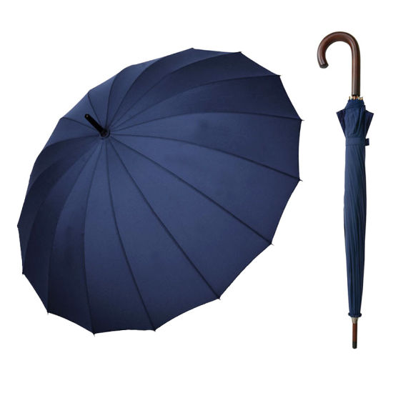 High Grade 16 Ribs Automatic Open Straight Umbrella with Wooden Handle for Men and Women (YZ-20-16)