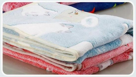 3D Embossed Cartoon Cat Flannel Baby Blanket / Baby Fleece Throw pictures & photos