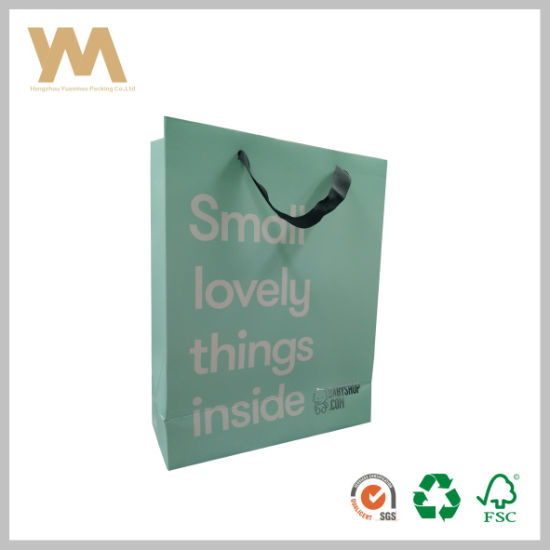 Small Printed Low Cost Recycle Green Paper Bag Ping