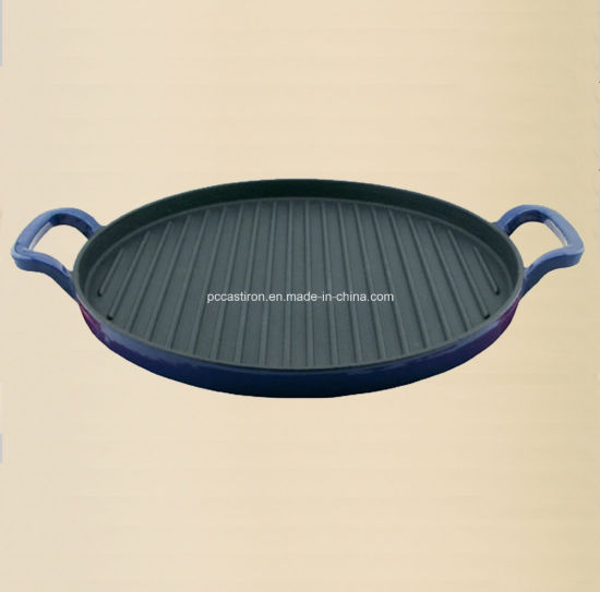 Enamel Cast Iron Griddle Pan with LFGB Certificate pictures & photos