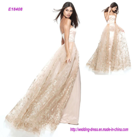 New Fashion Strapless Satin Column Evening Dress with a Tulle and Gold Floral Applique Over Skirt pictures & photos