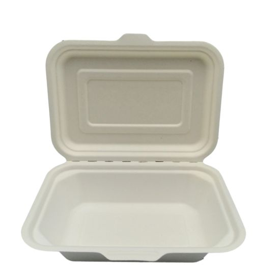 Biodegradable Tableware Sugarcane Bagasse Clamshell Paper Pulp Packaging Lunch Box pictures & photos