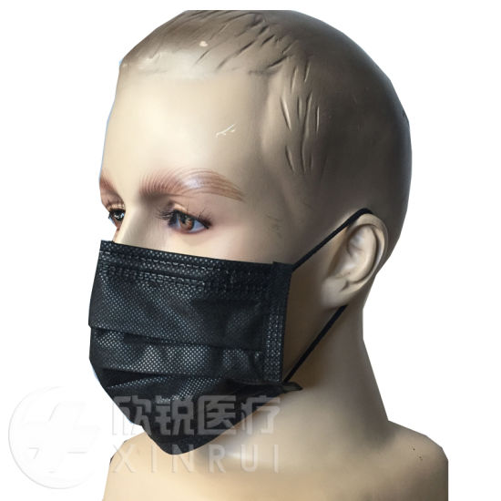Disposable Non-Woven Black Surgical Face Mask with Ear-Loop