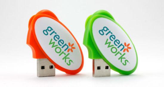 Plastic Oval Shape USB Flash Drive with Custom Logo Printing