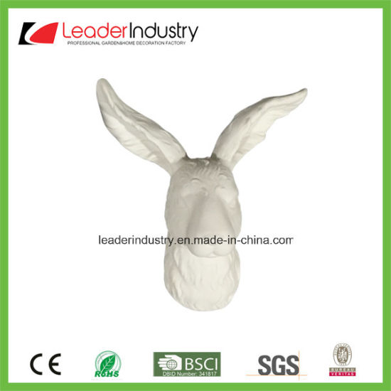 White Ceramic Rabbit Head Statue for Wall Decoration pictures & photos