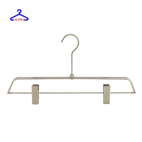Supermarket Add-on Loop Chrome Plating Metal Pants/Underwear/Socks Hanger  with Adjustable Clips