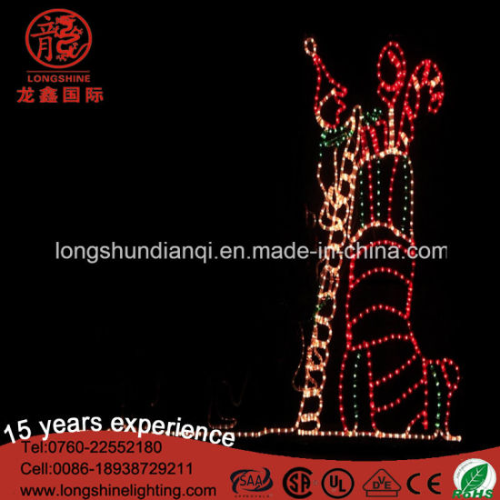 LED Animated Elf and Stocking Rope Motif Lights for Outdoor Christmas Decoration pictures & photos