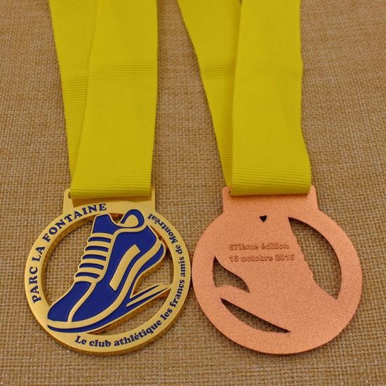 Cheap Bespoke Metal Marathon Race Gold Silver Bronze Medal with Ribbon