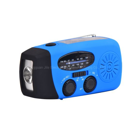Emergency Hand Crank Self Powered Am/FM Solar Weather Radio with LED Flashlight in 300 - 1000 mAh Power Bank pictures & photos