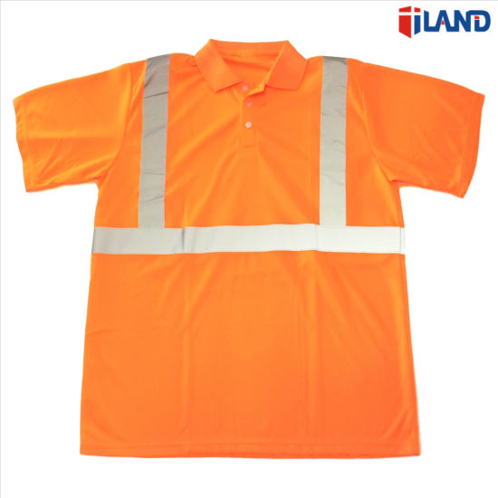 Short Sleeve Hi-Visibility Fluorescent Reflective Tape Safety Polo Shirt