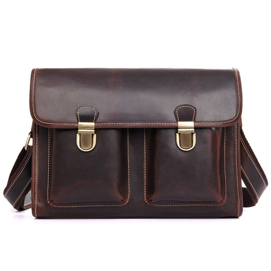 2018 Hot Selling Low Price Dark Brown Cow Leather School Bag Leather Messenger pictures & photos