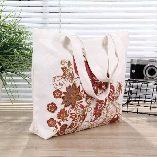 Wholesale Custom Printed Large Durable Tote Cotton Canvas Bags with Long Shoulder (FLA-9753)