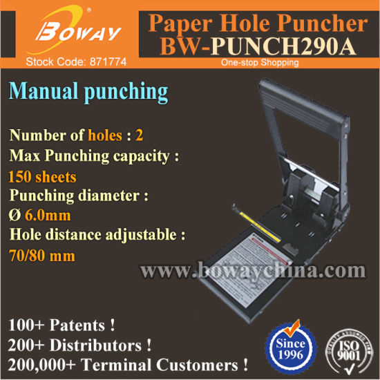 Boway Manual 15mm Thickness Paper Sheets 2 Holes Punching Machine pictures & photos