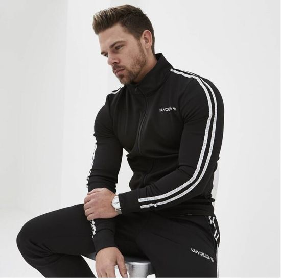 WNSY Men Casual Tracksuit Long Sleeve Full-Zip Running Jogging Sports Jacket and Pants