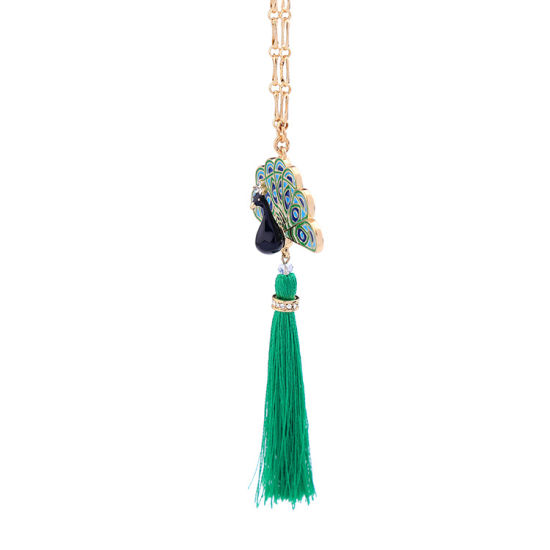Fashion Retro Ethnic Long Chain Women′s Sweater′s Necklace Drip Peacock Shaped Tassel Pendant pictures & photos