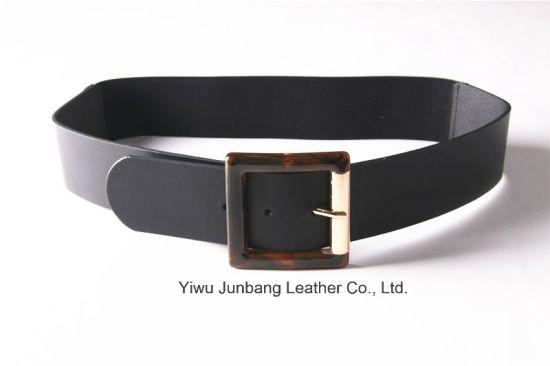 New Fashion Ladies PU Belt Elastic Belt with Resin Buckle -Jbe1632