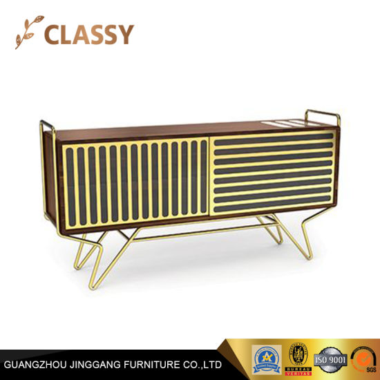 Modern Hallway Furniture Wood Console Table With Hollow Metal Door