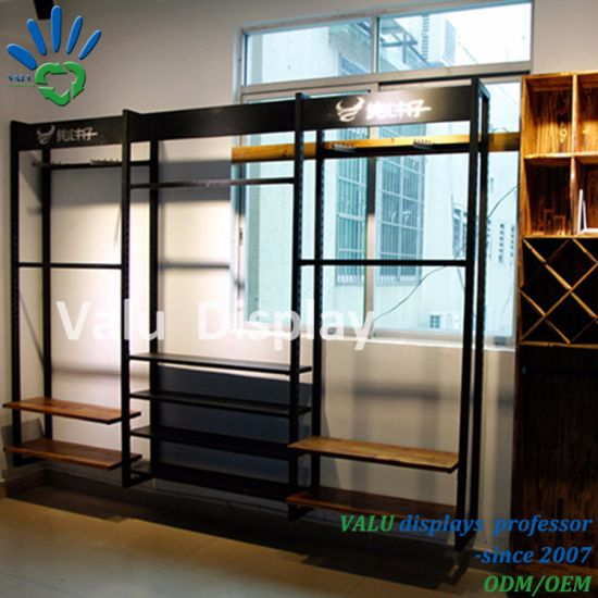 Metal And Wooden Clothes Wall Shelf Wall Display Units