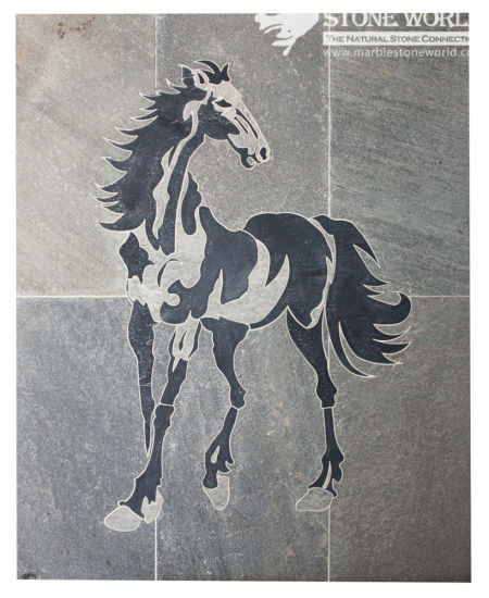 Black & Grey Waterjet Slate Medallion for Flooring/Paving/Lobby Tiles (mm-019) pictures & photos