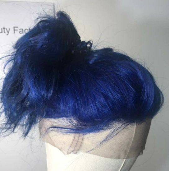 Blue Party Carnival Long Human Hair Extensions Water Wave Fake Hairwig pictures & photos