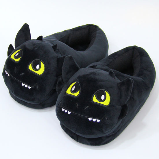 Black Dragon Cartoon Animal Plush Shoes Slipper for Winter pictures & photos