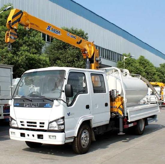 Isuzu 600p Double 2 Ton Truck-Mounted Crane 3.2tons 4tons with Water Tank