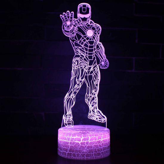 3D Night Light Marvel Avengers Iron Man Illusion Night Lamp 7 Colour Changing Gift Lights Decoration Lighting