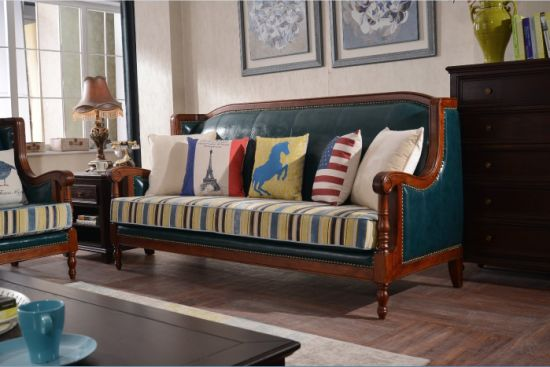 China Leather Sofa With Fabric Cushions