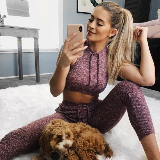 Hot Sales Whorl Yoga Fitness Trousers Set Women Sportswear Set