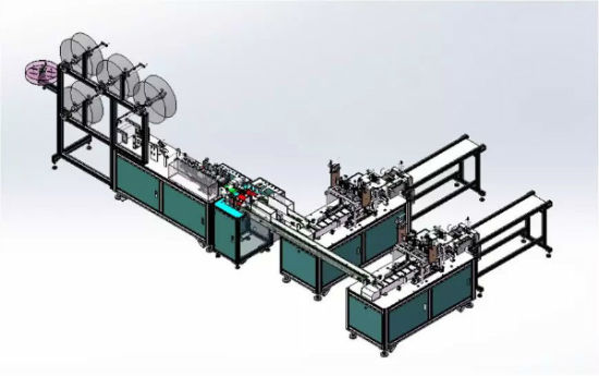 Automatic Outer Ear Loop Non Woven Dust Mask Machine (2 in 1) , Medical Face Mask Making Machine