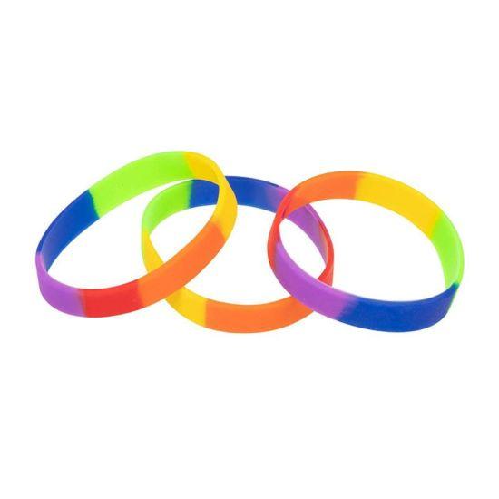 Custom Rainbow Unisex Silicone Embossed/Debossed Silicone Bracelets
