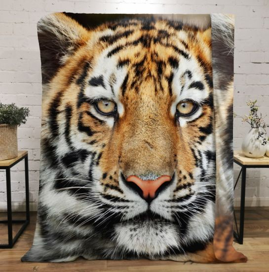 3D Digital Printing Blankets Tiger Pattern for All Season