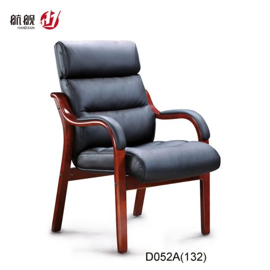 China Comfortable Leather Office Chair With Wooden Arms And Legs China Stylish Chair Armrest Chair