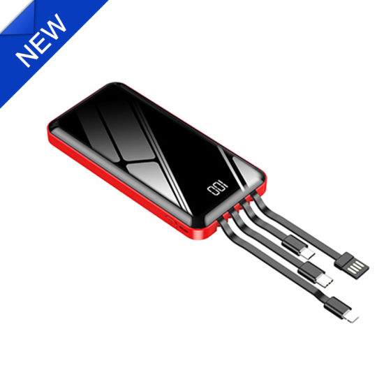 Slim Mini 10000mAh Mobile Phone Power Bank Built-in Fast Cable Battery Charger Power Supply